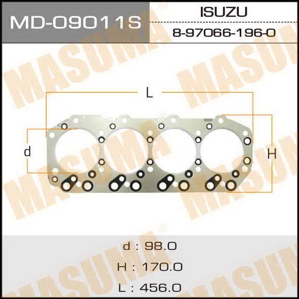 Прокладка Голов.блока  Masuma  4JG2 (1/10). (MD-09011S)