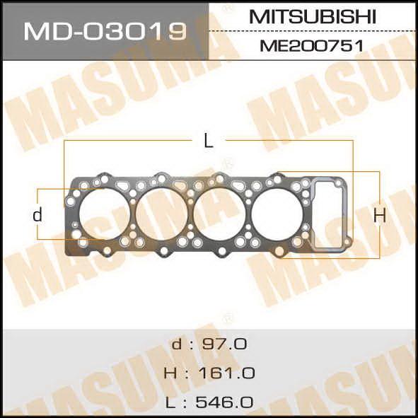 Прокладка Голов.блока  Masuma  4M40 (1/10). (MD-03019)