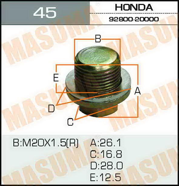 Болт маслосливной  Masuma  Honda 20х1.5mm. (45)