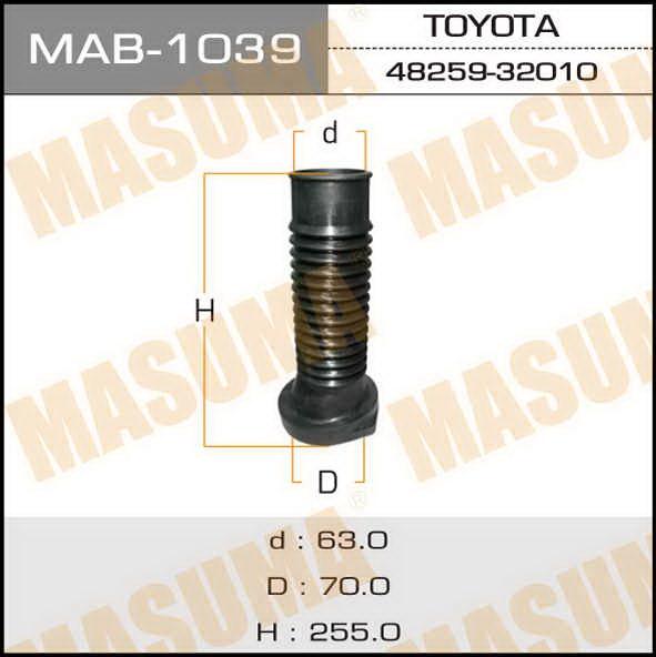 Пыльник стоек  Masuma  65*255*71 LH TOY Avalon, Camry, Scepter, Vista, Windom. (MAB-1039)