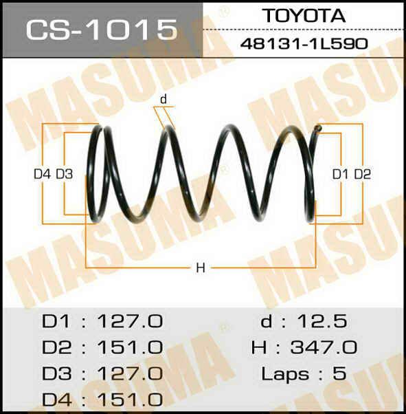 Пружина подвески усиленная +15% жесткости MASUMA front COROLLA/ AE100, AE111, AE114, CE114. (CS-1015)