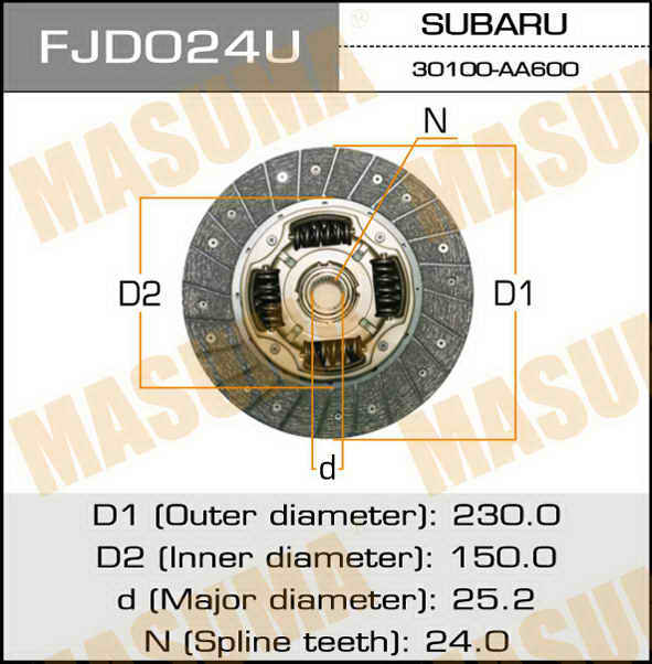 Диск сцепления  Masuma  230*150*24*25.2 (1/10). (FJD024U)