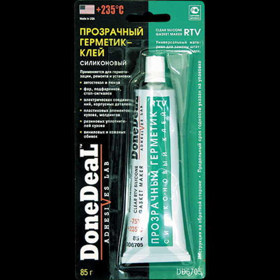 Прозрачный силиконовый герметик-клей для стекол DONE DEAL CLEAR RTV SILICONE ADHESIVE SEALANT 85 г. (DD6705)