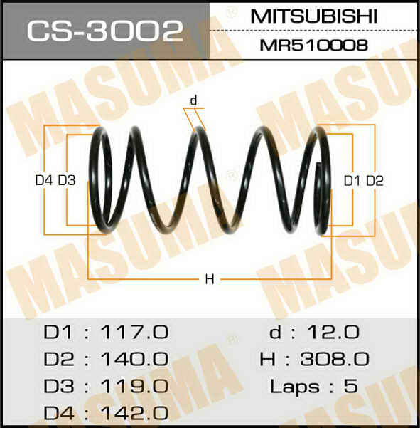 Пружина подвески усиленная +15% жесткости MASUMA rear PAJERO IO/ H76W. (CS-3002)