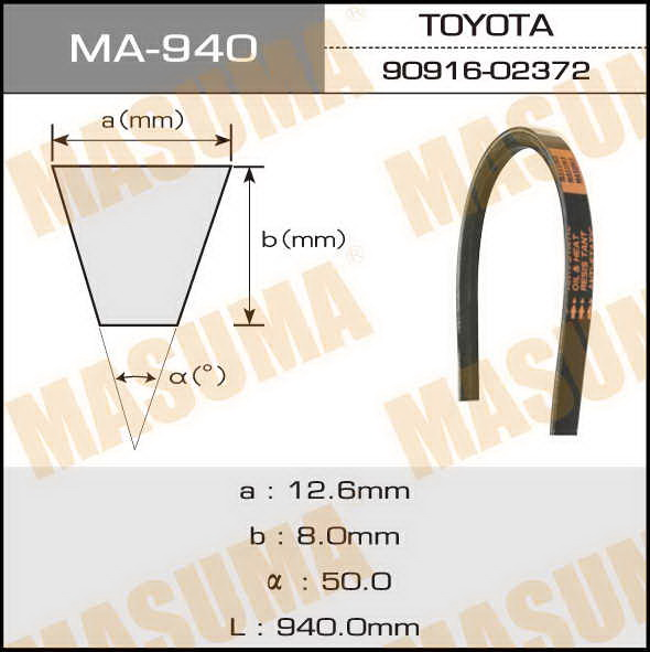 Ремень клиновидный  Masuma  OEM_90916-02372. (MA-940)