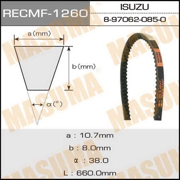 Ремень клиновидный  Masuma  рк.1260 (10x660)