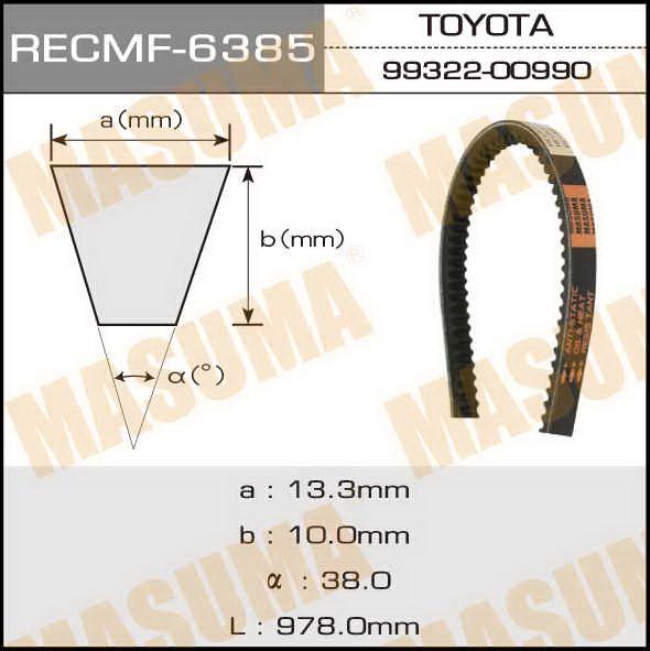 Ремень клиновидный  Masuma  рк.6385 (13x978)