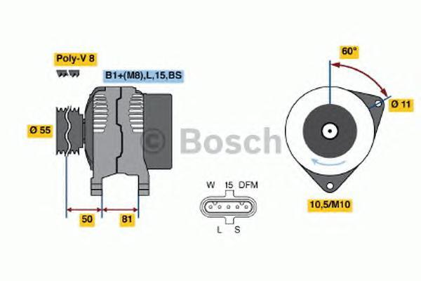 ГЕНЕРАТОР 28V, 90A Cummins (ISBe,ISDe) 90A {120град.81мм}. Bosch (0124655005)