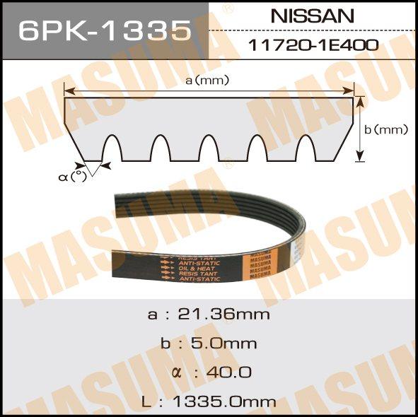 Ремень ручейковый  Masuma  6PK-1335
