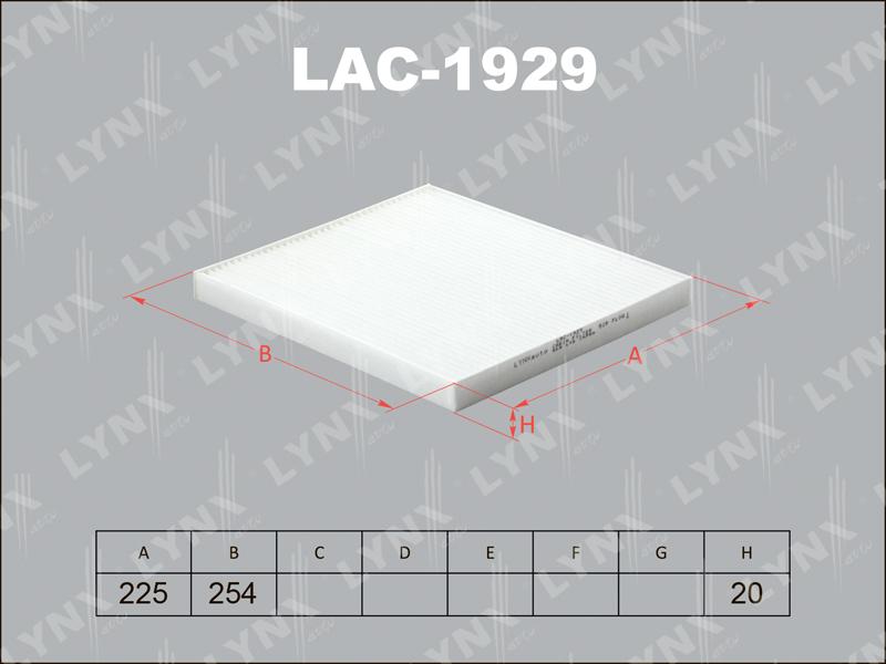 1929 LAC/AC9324 Фильтр салонный LYNX, шт. (LAC-1929)