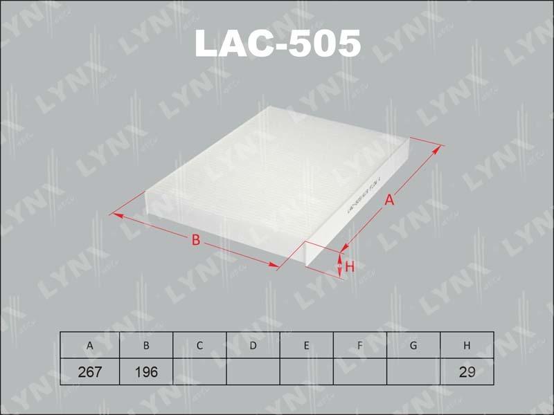 505 LAC Фильтр салонный LYNX, шт. (LAC-505)