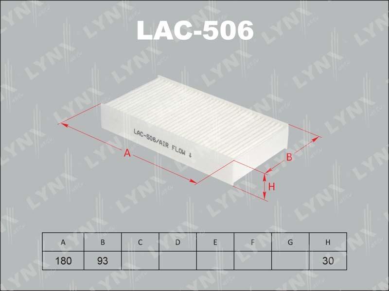 506 LAC/AC8501SET Фильтр салонный LYNX, шт. (LAC-506)