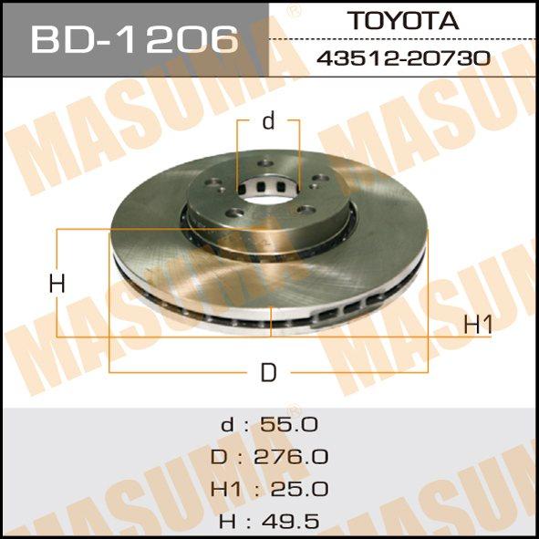 Диск тормозной MASUMA front AVENSIS/ AT22#, AZT220, CDT220 (упаковка 2 шт). (BD-1206)