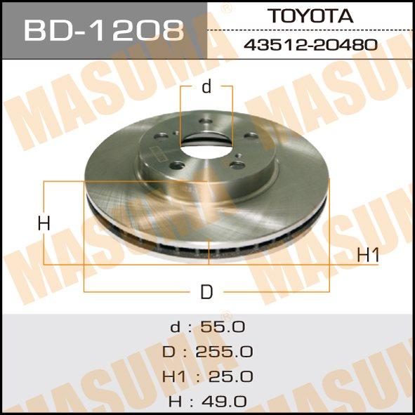 Диск тормозной MASUMA front CALDINA/ AT211, CT216, ST21# (упаковка 2 шт). (BD-1208)