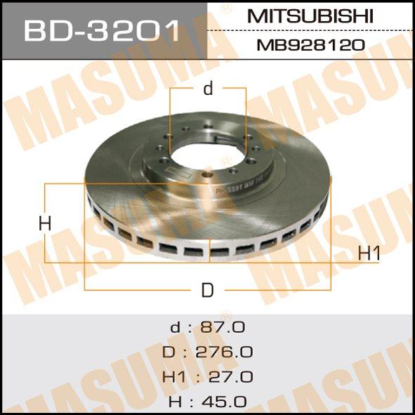 Диск тормозной MASUMA front PAJERO, MONTERO/ V45W 90-04 (упаковка 2 шт). (BD-3201)