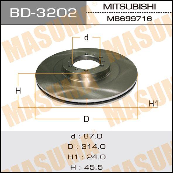 Диск тормозной MASUMA front PAJERO/MONTERO SPORT/ K94W (упаковка 2 шт). (BD-3202)