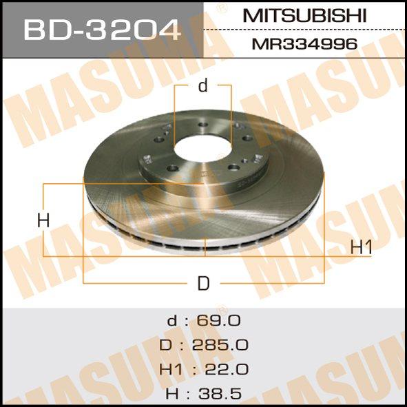 Диск тормозной MASUMA front PAJERO IO 98-07 (упаковка 2 шт). (BD-3204)