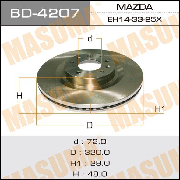 Диск тормозной MASUMA front CX-7 06- (упаковка 2 шт). (BD-4207)