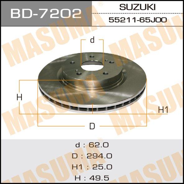 Диск тормозной MASUMA front GRAND VITARA II 05- (упаковка 2 шт). (BD-7202)