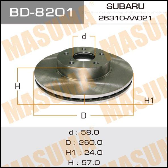 Диск тормозной MASUMA front IMPREZA 92-07 (упаковка 2 шт). (BD-8201)