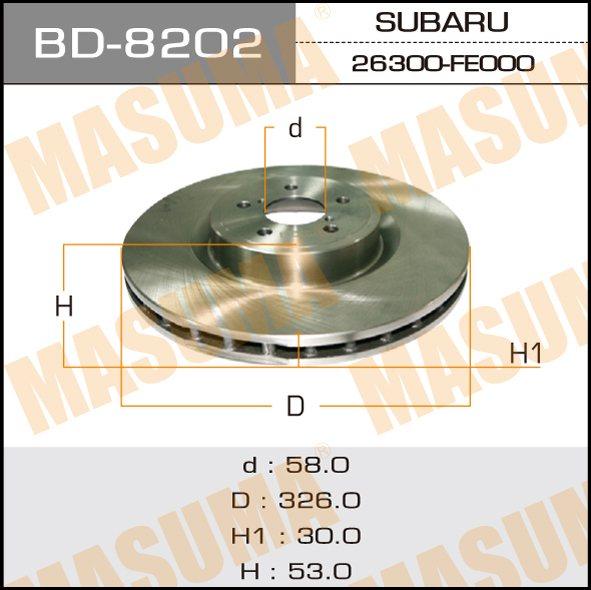 Диск тормозной MASUMA front FORESTER, IMPREZA, LEGACY 00-08 (упаковка 1 шт). (BD-8202)