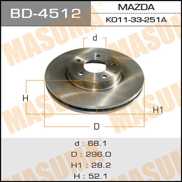 Диск тормозной MASUMA front CX-5 (упаковка 2 шт). (BD-4512)