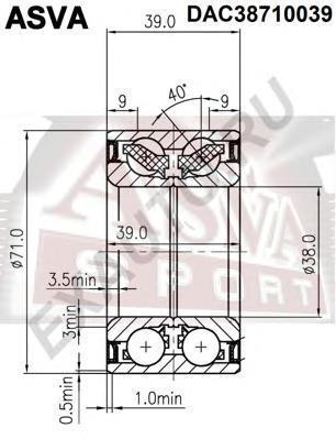 Подшипник ступичный передний. ASVA (DAC38710039)