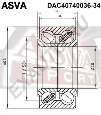 Подшипник ступичный передний (40x74x36x34). ASVA (DAC40740036-34)