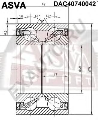 Подшипник ступичный (40x74x42x42). ASVA (DAC40740042)