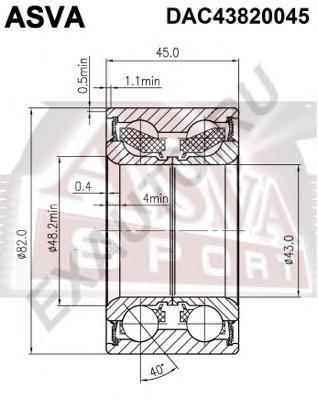 Подшипник ступичный передний (43x82x45x45). ASVA (DAC43820045)