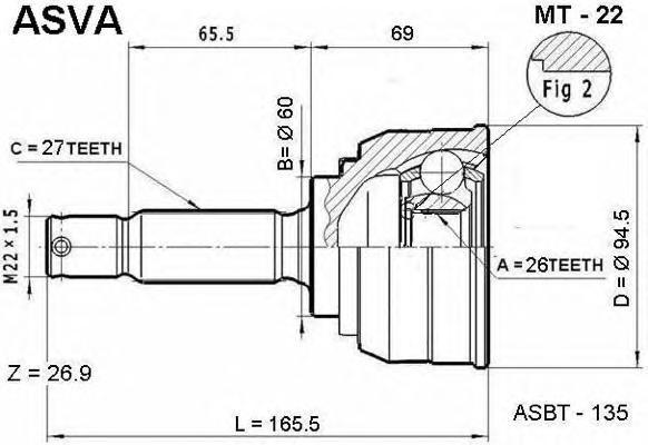 ШРУС наружный 26x60x27. ASVA (MT22)