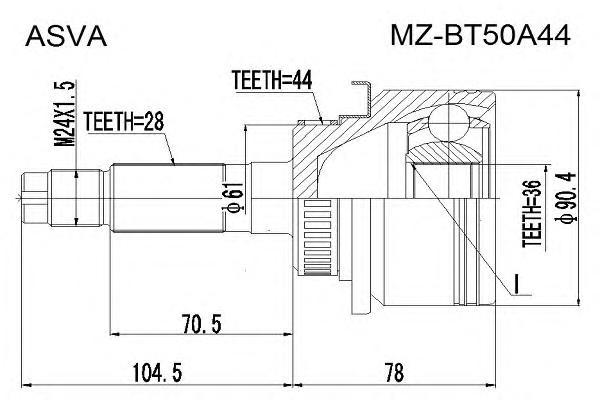 ШРУС наружный 36x61x28. ASVA (MZBT50A44)