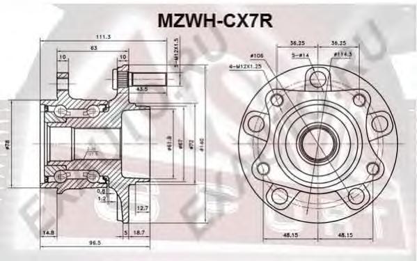 Ступица задняя. ASVA (MZWHCX7R)