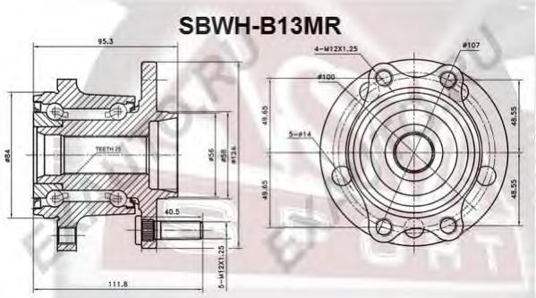 Ступица задняя с магнитным кольцом абс. ASVA (SBWH-B13MR)