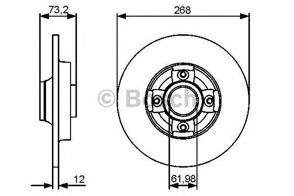ТОРМОЗНОЙ ДИСК ЗАДНИЙ. Bosch (0986479383)
