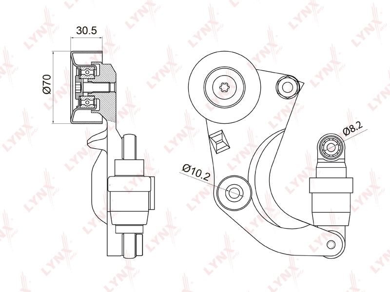3016PT Натяжитель с роликом / приводной LYNX, шт. (PT-3016)