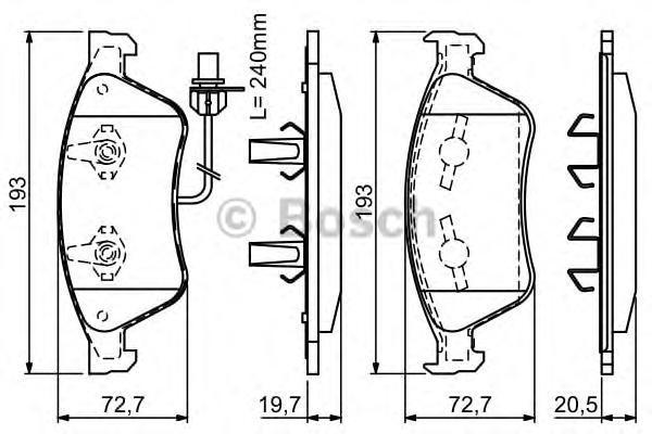 ТОРМОЗНЫЕ КОЛОДКИ ПЕРЕДНИЕ. Bosch (0986494200)