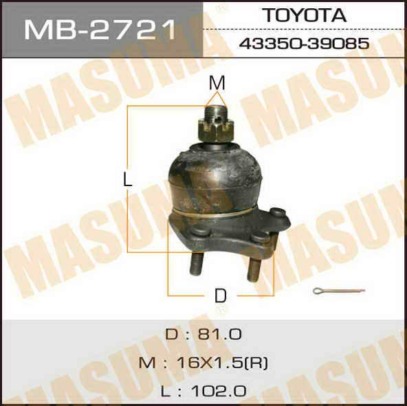Шаровая опора  Masuma  front up HILUX/LN16#, LN17#, RZN16#, RZN174. (MB-2721)