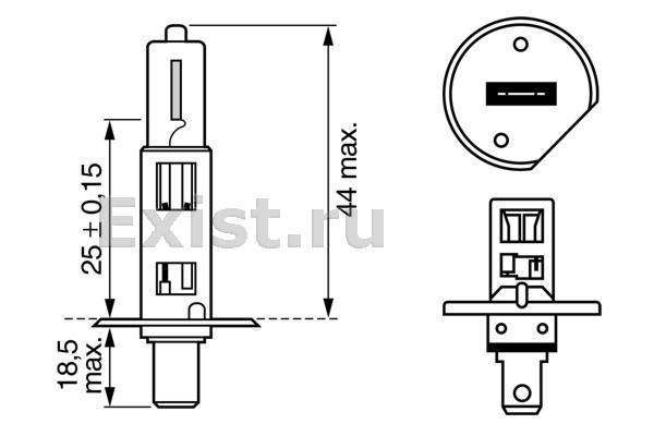 ЛАМПА H1 12V 55W PURE LIGHT (коробка/1шт). Bosch (1987302011)