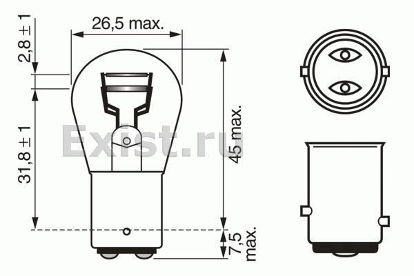 ЛАМПА P21/5W 12V PURE LIGHT BAY15d (коробка/10шт) кр.10. Bosch (1987302202)