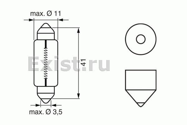 ЛАМПА K10W 12V 10W PURE LIGHT (коробка/10шт) кр.10. Bosch (1987302210)