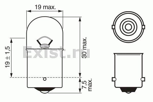 ЛАМПА R5W, 12V 5W R5W PURE LIGHT (коробка/10шт) кр.10. Bosch (1987302204)