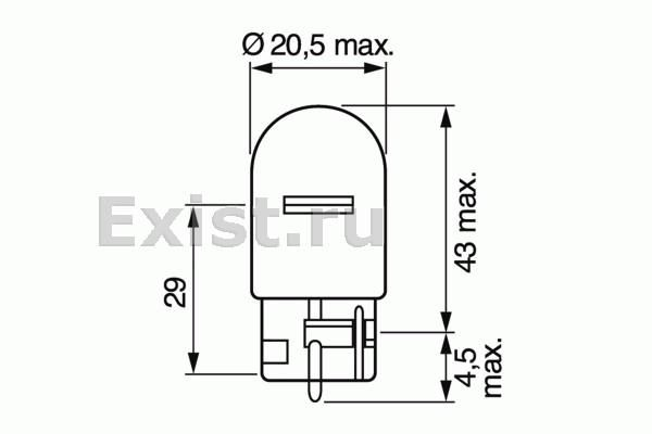 ЛАМПА W21W, 12V PURE LIGHT (коробка/1шт). Bosch (1987302251)