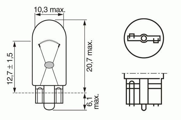 ЛАМПА W3W, 12V 3W PURE LIGHT (коробка/10шт) кр.10. Bosch (1987302217)
