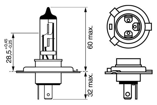 ЛАМПА H4 12V 60/55W PURE LIGHT (коробка/1шт). Bosch (1987302041)