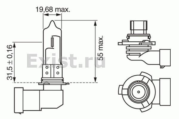 ЛАМПА HB3 12V 60W Pure Light (коробка/1шт). Bosch (1987302152)