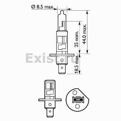 ЛАМПА H1, 12V 55W H1 Plus 50 (блистер/1шт). Bosch (1987301041)
