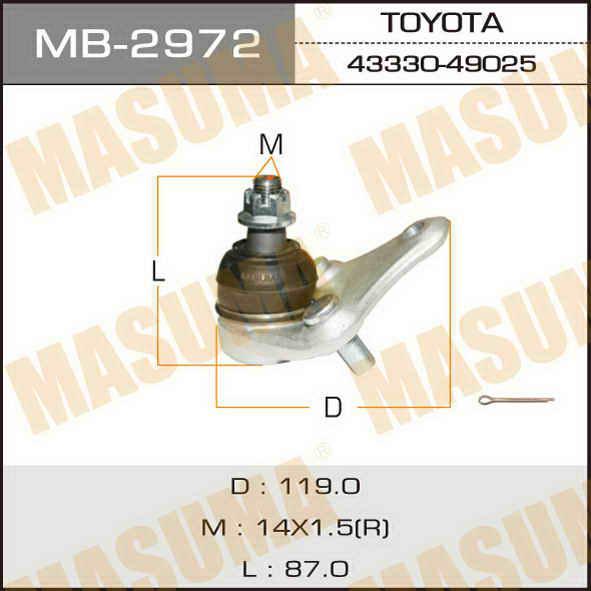 Шаровая опора  Masuma  front low RAV4/ SXA1#. (MB-2972)