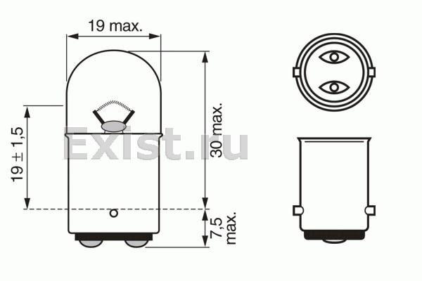 ЛАМПА R5W 5 W 12 V BA15d PURE LIGHT (коробка/10шт). Bosch (1987302237)