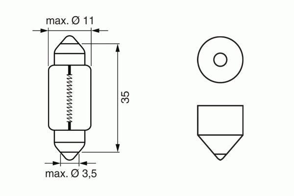 ЛАМПА C5W, 12V 5W SV8,5-8 PURE LIGHT (коробка/10шт) кр.10. Bosch (1987302211)